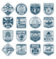 marine heraldry isolated icons nautical equipment vector image vector image
