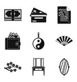 massage business icons set simple style vector image vector image