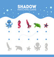 matching game with cute sea creatures octopus vector image