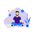 meditation man at work business working design vector image