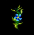 modern glowing blue flower colorful cosmic floral vector image vector image