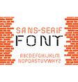 Orange sans-serif modern font vector image