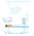 patient under anesthesia on operating table vector image