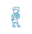 playing football linear icon concept playing vector image