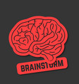 red outline brain icon like brainstorm vector image vector image
