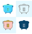 rice cooker icon set in flat and line styles vector image