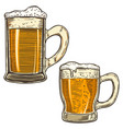 set of hand drawn beer mug on white background vector image vector image