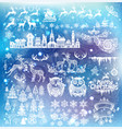 set silhouette decoration for christmas and new vector image