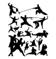 silhouette shaolin martial arts vector image