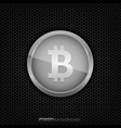 silver bitcoin coin vector image vector image