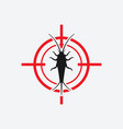 silverfish icon red target insect pest control vector image vector image