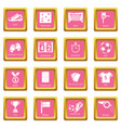 soccer football icons set pink square vector image vector image
