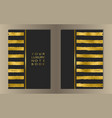 stripe gold foil cover set vector image