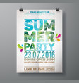 Summer Beach Party Flyer Design with palm leaves vector image vector image