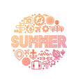 summer lettering with linear icons and signs vector image vector image