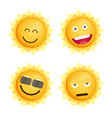 sun icon set flat vector image vector image