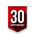 Thirty years happy birthday ribbon vector image vector image