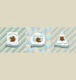 three colored labels with maple vector image