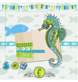 Tropical Fish and Sea Horse Theme vector image vector image