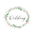 wedding card with flower wreath invitation vector image vector image