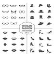Woman Fashion Set - icons glasses hats shoes lips vector image vector image