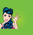 woman with finger okay gesture action vector image vector image