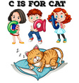 Letter C is for cat vector image