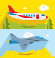 set of civil and military aviation flat vector image