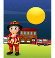 A fireman with a fire extinguisher vector image vector image