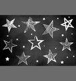 a set stars on a chalkboard drawing hatch vector image vector image