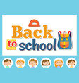 back to school pupils with backpack and ruler vector image vector image