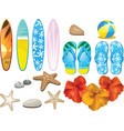 beach and tropical elements vector image vector image