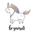beautiful unicorn head and inscription be yourself vector image vector image