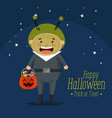 boy dressed up as a martian vector image