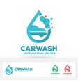 car wash logo car shampoo bubble and water drop vector image