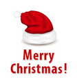 christmas card with santa hat vector image vector image