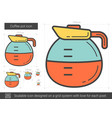 coffee pot line icon vector image vector image
