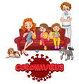 coronavirus and family member vector image