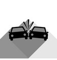 crashed cars sign black icon with two vector image vector image