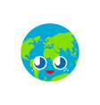 cute earth isolated funny planet cartoon style vector image vector image