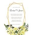 decorative golden geometric frame with eucalyptus vector image vector image