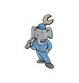 Elephant Mechanic Spanner Standing Cartoon vector image vector image
