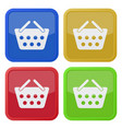 four square color icons shopping basket vector image vector image