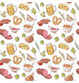 german food hand drawn seamless pattern vector image vector image