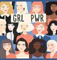 group portraits diverse women girl power vector image vector image
