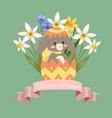happy easter cute bunny baby rabbit vector image vector image