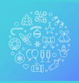 happy new year outline circular blue vector image