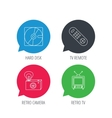 Hard disk retro camera and TV remote icons vector image vector image