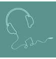 Headphones with cord Music background card Outline vector image