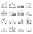 Houses icons set outline style vector image